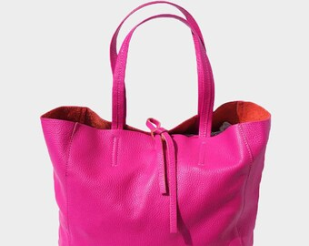 b68f00a8729bc SALE Leather Tote Bag Hot Pink Shopping Bag Genuine Pebble Grain Soft  Italian Leather