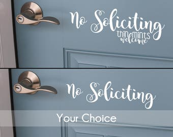 No Soliciting | Front Door Decal | Sticker for Front Door | No Soliciting Decal | Front Door Decor | Decal for Door
