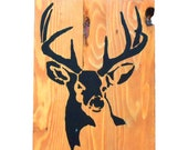 Handmade Reclaimed Pallet Sign Stag Theme Cedar Stain A4 Size Hand Painted Craft (1)