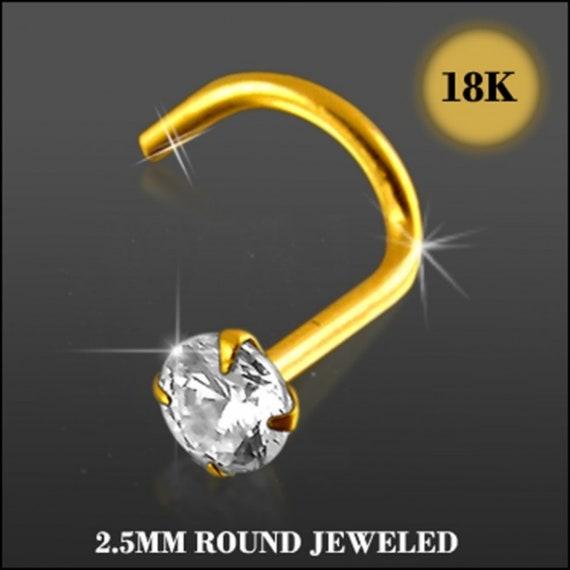 14K Carat Genuine Yellow Gold Nose Screw Square Gem Cubic Zirconia 20g