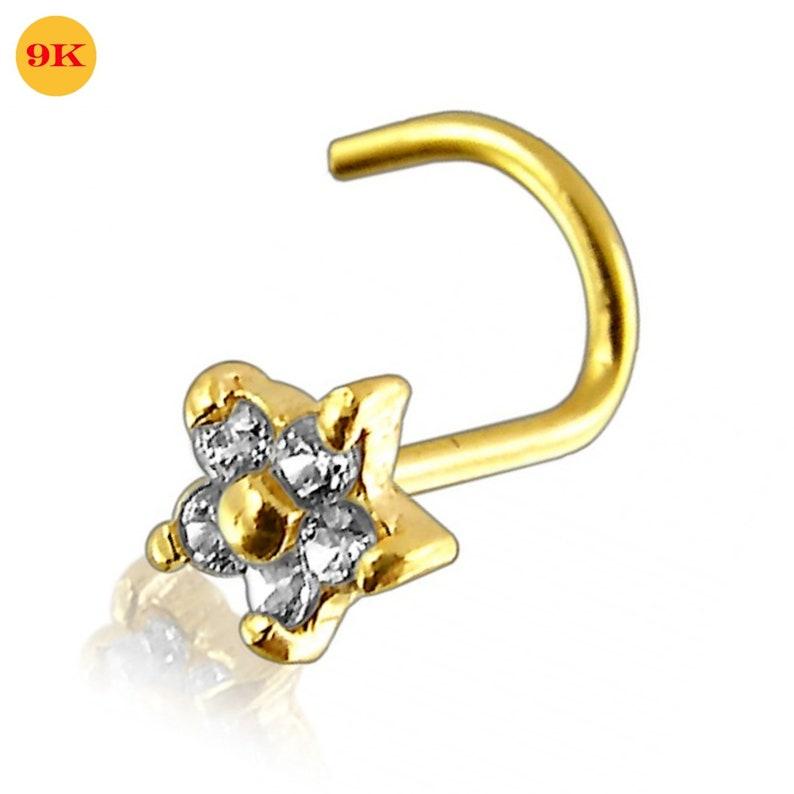 9ct Carat Nose Screw Genuine Gold Flower Design Gem Piercing Stud Pin 20g 6mm