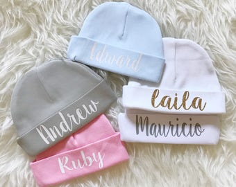 Baby beanie with name   Personalized Newborn baby beanie   name cap    hospital hat   hospital cap   new baby gift   name hat   custom name 41784015c06