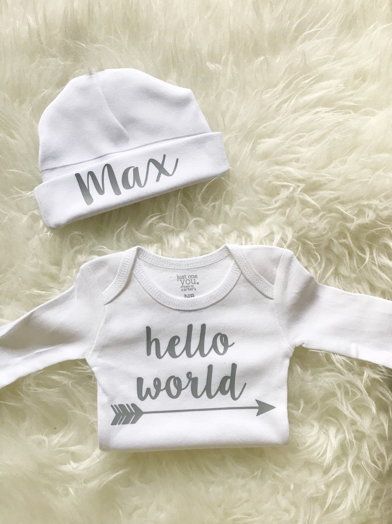1b0585014 Newborn boy coming home outfit hello world custom name beanie