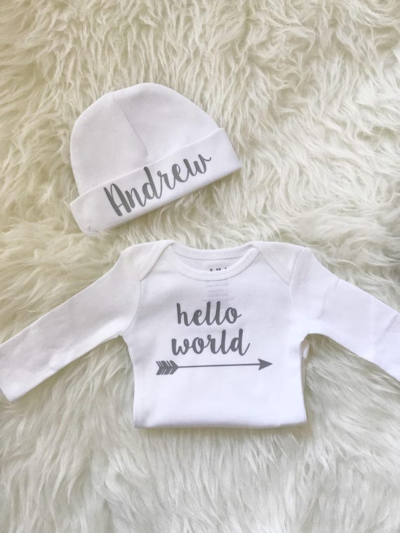 ebecb91bae4 Personalized baby boy coming home outfit boy hello world