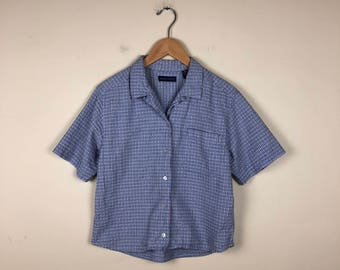 90s Oversized Button Up Size Medium, Boxy Button Up, Blue Short Sleeve Button Up
