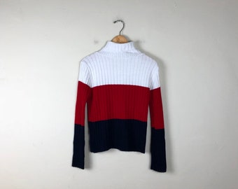 90s Turtleneck Sweater Size M, Striped Turtleneck Sweater, Color Block Turtleneck Sweater, Preppy Turtleneck