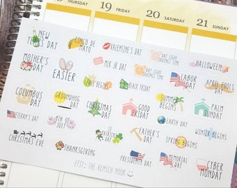 Holiday planner stickers - Gift for her - Filofax - Daily Planner - Erin Condren - Happy Planner - bullet journal
