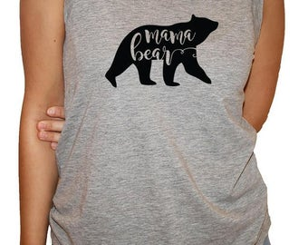 New Style ****Ladies triblend  tank top Grey with mama bear in black ink.