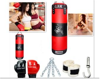 Full Heavy Boxing Set Empty Punching Bag Gloves Training Punch MMA Gym Workout