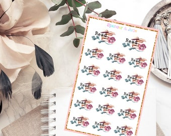 READ Planner Stickers with Typewriter Font and Rose - Floral Vintage Look Shabby Chic Watercolor Book Lover Reading Stickers for Journaling