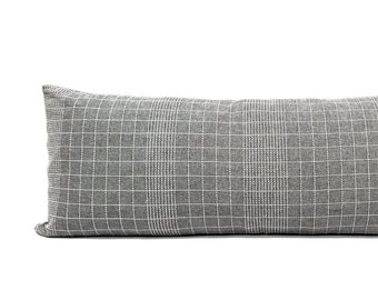 """13""""×35"""" gray with white embroidery cotton pillow cover"""