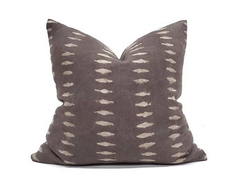 Various square sizes dark muted brown hand block print on linen pillow cover