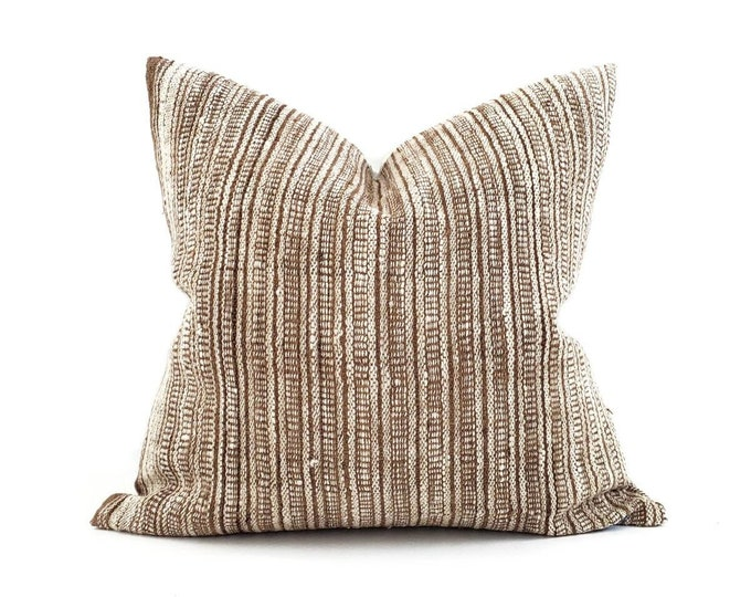 """Featured listing image: 22"""" caramel/cream stripe Indian wool pillow cover"""