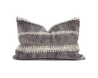 "14""×20"" grey bone print hmong batik hemp linen pillow"