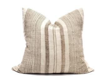 """24"""" light beige/brown stripe hmong hemp linen pillow cover"""