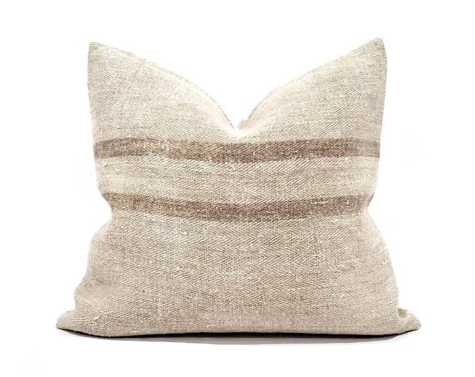"""Featured listing image: 18.25""""×20"""" vintage muted sand/brown stripe grainsack pillow cover"""