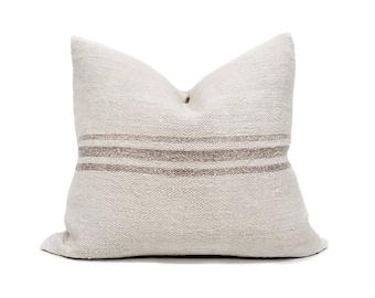 "18""x20"" vintage mushroom color stripe grainsack pillow cover"