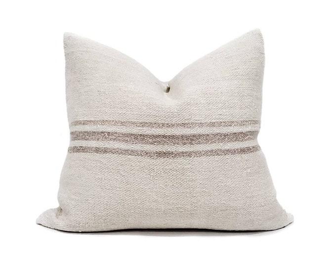 "Featured listing image: 18""x20"" vintage mushroom color stripe grainsack pillow cover"