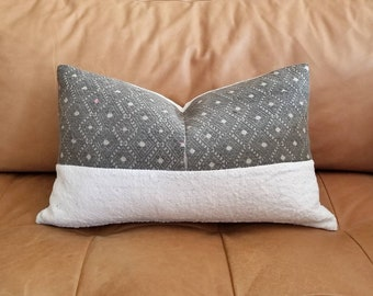 """12""""× 20"""" Vintage chinese wedding blanket+ cream mudcloth pillow cover"""