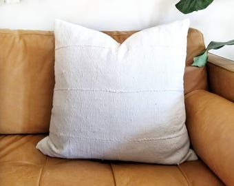 Cream mudcloth pillow cover in various sizes