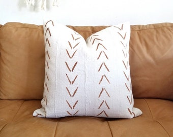 Cream with big rust arrow print mudcloth pillow cover in various sizes
