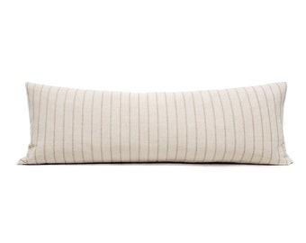 "13""×35"" tan stripe cotton Asian textile bed pillow cover"