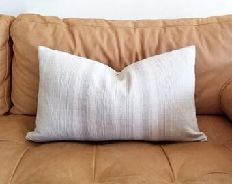"""14""""x24"""" light grey stripe hmong hemp pillow cover"""