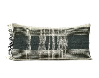 "14""×29"" greenish grey indian wool pillow cover with fringe"