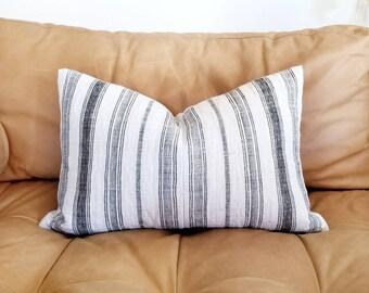 """13.5""""×21"""" black stripe hmong hemp linen pillow"""