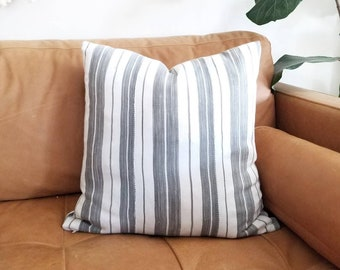 """18""""-20"""" gray stripe african textile pillow cover"""