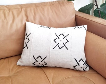 Cream with black print mudcloth pillow cover in various sizes
