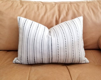 Cream/ gray embroidered african textile pillow cover,  African mudcloth pillow, mudcloth, stripe pillow