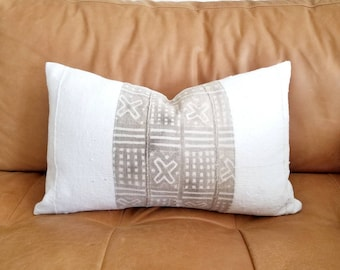 "13""×20"" Khaki+ cream mudcloth pillow cover"