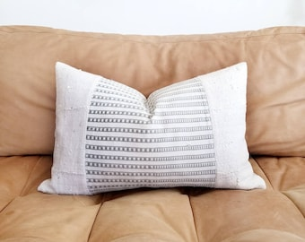 """13""""x20"""" cream mudcloth+ embroidered African textile pillow cover"""