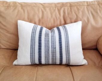 """13""""×20"""" indigo stripe hmong hemp+ cream mudcloth pillow cover"""