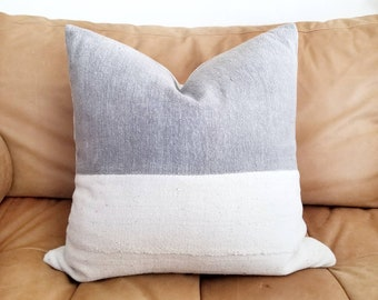 "18"" grey Chinese thick cotton+ cream mudcloth pillow cover"