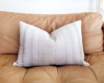 "14""×21"" cream/ beige/ grey stripe hmong hemp linen lumbar pillow cover"