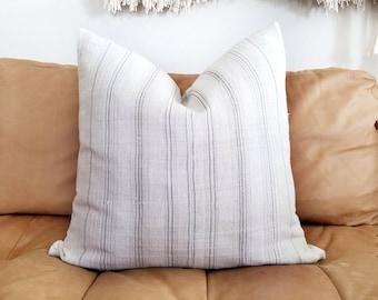 """21"""" cream/ beige/ grey stripe hmong hemp linen pillow cover"""