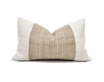 "13""×20"" natural hemp linen+ cream mudcloth pillow cover"
