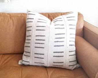 Cream w/ grey print mudcloth pillow cover in various sizes