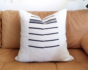 "20"" stripe hausa African blanket+ cream mudcloth pillow cover"