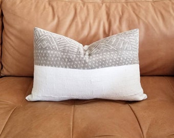 "13""x20"" Vintage khaki mudcloth+ cream mudcloth pillow cover"