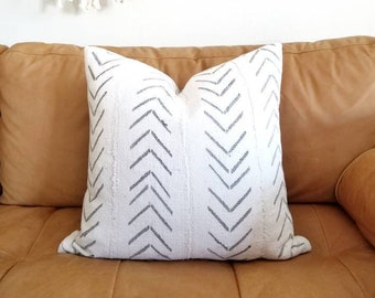 Cream mudcloth pillow cover w/ grey arrow print in various sizes