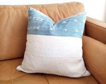 """19"""" indigo mudcloth+ cream mudcloth pillow cover"""