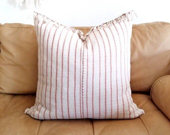 "20""×21"" fringe coral pink stripe Asian textile cotton pillow cover"