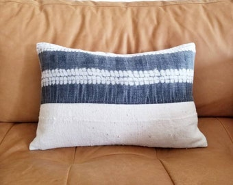 "12""×18"" Gray hmong hemp+ cream  mudcloth pillow cover"