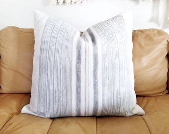 "23"" grey stripe hmong hemp linen pillow cover"