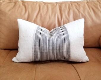 """12""""×19"""" black stripe hmong hemp+ cream mudcloth pillow cover"""