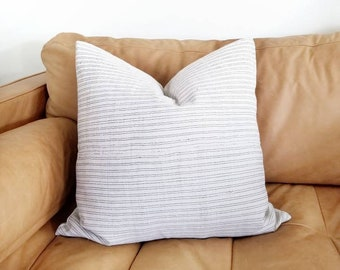 "20"" cream/black pinstripe hemp linen hmong pillow cover"