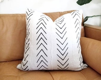 Big black arrow print mudcloth pillow cover in various sizes